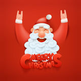 Santa claus character making hard rock sign Merry christmas title Royalty Free Stock Photo
