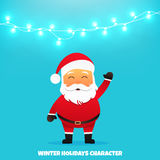 Santa Claus character. Merry Christmas and Happy New Year. Santa Claus cartoon character. Holiday vector illustration with garland Royalty Free Stock Photography