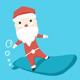 Santa claus character play Surf Boards and icon cartoon ,vector illustration Stock Photo
