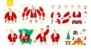 Santa Claus character set for animation and motion design royalty free illustration