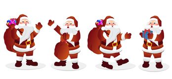 Santa Claus Character Set vektorillustation stock illustrationer