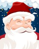 Santa Claus character white beard and moustaches in traditional Christmas holiday on nighttime background Stock Image