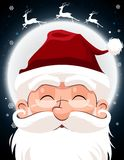 Santa Claus character white beard and moustaches in traditional Christmas holiday on nighttime background Stock Photography