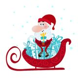Santa Claus Character - The Winter Sleigh Trip.  Royalty Free Stock Images