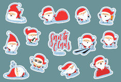 Santa Claus characters of Christmas. Quirky cartoon patch cute sticker flat. Christmas set patches. Funny Santa Claus cartoon character with different emotions Stock Photography