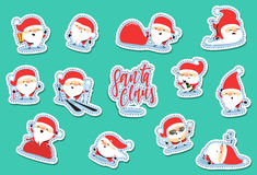 Santa Claus characters of Christmas. Quirky cartoon patch cute sticker flat. Christmas set patches. Funny Santa Claus cartoon character with different emotions Royalty Free Stock Photography