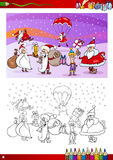 Santa claus characters coloring book Stock Photos