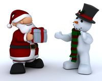 Santa Claus Charicature and snowman Royalty Free Stock Images