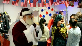 Santa Claus on Charity bazaar 2015, Kiev, Ukraine, stock video footage