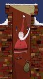 Santa Claus che cade in un camino del mattone. Illustrazione di Stock