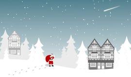 Santa Claus che cammina sulla neve riacquista i regali nella notte dell'inverno illustrazione di stock