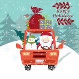 Santa Claus che conduce l'automobile con un pupazzo di neve sveglio illustrazione di stock
