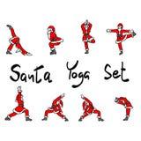 Santa Claus che fa scarabocchio di schizzo dell'illustrazione di vettore dell'insieme di yoga disegnato a mano con le linee nere  illustrazione di stock
