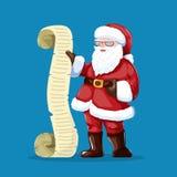 Santa Claus che legge una lettera o una lista dei desideri Fotografie Stock Libere da Diritti