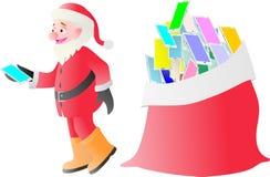 Santa Claus che passa androide sul Natale Immagine Stock Libera da Diritti