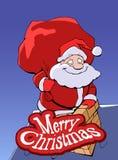 Santa Claus che scende il camino illustrazione di stock