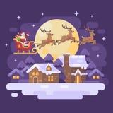 Santa Claus che sorvola il paesaggio nevoso del villaggio di inverno di notte in una slitta disegnata dalla renna tre Immagini Stock