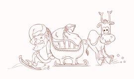 Santa Claus che spingono la sua slitta e Rudolph Immagine Stock Libera da Diritti