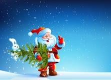 Santa Claus che sta nella neve e tiene l'albero Immagine Stock Libera da Diritti