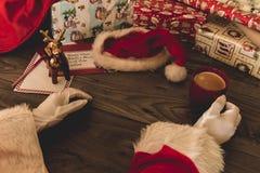 Santa Claus che tiene una palla di vetro di Natale Immagine Stock