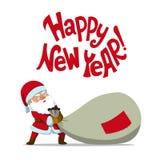 Santa Claus che trascina un grandi sacco e buon anno del ` di citazione! ` Immagine Stock Libera da Diritti