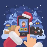 Santa Claus checking children profiles online. Deciding who is naughty and nice. Christmas flat illustration Royalty Free Stock Photography