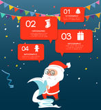 Santa claus checking list with speech bubble. Royalty Free Stock Images