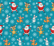Santa Claus and cheerful animals. Christmas seamless pattern with the image of funny animals and Santa Claus vector illustration