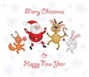 Santa Claus and cheerful animals Royalty Free Stock Photo