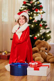 Santa Claus child.Cute little girl in Santa outfits for Christma Royalty Free Stock Photos