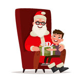 Santa Claus with a child sitting in a chair on a white backgroun Stock Image