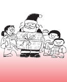 Santa Claus and children. A hand drawn illustration of Santa Claus and children holding Christmas presents in their hands royalty free illustration