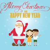Santa Claus and children. Christmas greeting card. Stock Photos