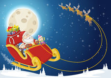Santa Claus and children on sleigh Royalty Free Stock Images