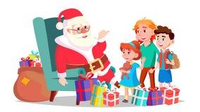 Santa Claus With Children Vector Joyeux Noël et bonne année Salutation, carte postale, conception colorée D'isolement illustration stock