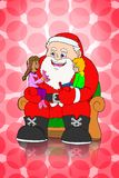 Santa claus and childrens on pink dot background Royalty Free Stock Photos