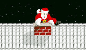 Santa Claus in chimney 2 Royalty Free Stock Image