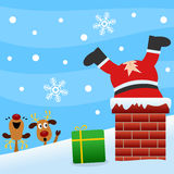 Santa Claus in the Chimney. Santa Claus go down in a chimney to deliver a gift and he rips his pants. Two reindeer are laughing watching the scene. Please check Royalty Free Stock Photos
