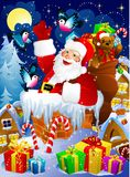 Santa Claus in chimney. Christmas night scene with Santa Claus in chimney with presents Stock Photo