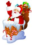 Santa Claus in chimney. Isolated on white Stock Image