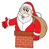 Santa Claus in chimney. Vector illustration Royalty Free Stock Photos