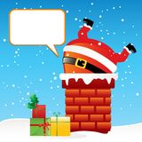 Santa Claus in the chimney. Funny cartoon Santa Claus got stuck in the chimney on the roof, vector greeting card Stock Photos