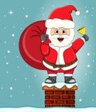 Santa claus in chimney christmas cartoon Royalty Free Stock Images