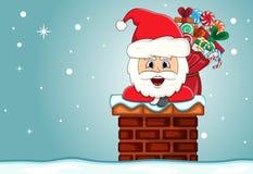 Santa claus in chimney christmas cartoon Stock Photo