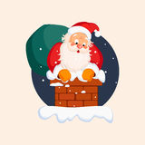 Santa Claus in Chimney on Christmas Eve. Vector Stock Photos