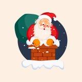 Santa Claus in Chimney on Christmas Eve. Vector Stock Photos