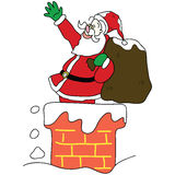 Santa claus in the chimney christmas hand drawn Royalty Free Stock Image