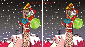Santa Claus - chimney-10 differences. Find ten differences in the pictures - Santa Claus and chimney Stock Photo