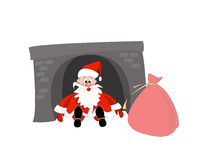 Santa Claus in the chimney fell through. He fell into the fireplace with gifts. Santa Claus arrived with gifts for Christmas Royalty Free Stock Photography