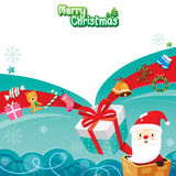 Santa Claus In Chimney With Gift-Kasten und -verzierungen Stockbilder